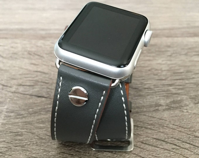 Grey Leather Bracelet for Apple Watch All Series Vegan Handmade Double Wrap Band Silver Rivets Wristband Multi Wrap Apple Watch Band Gift