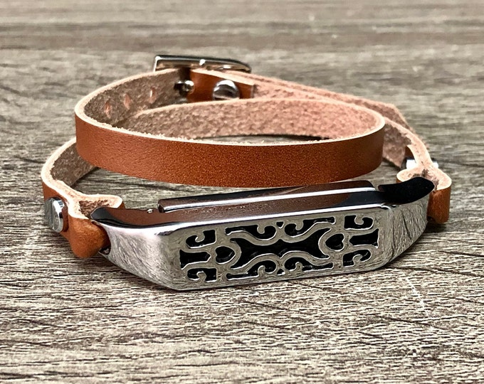 Elegant Bronze Leather Fitbit Flex 2 Strap Band Women Style Silver Floral Fitbit Pendant Double Wrapped Fitbit Flex 2 Bracelet Jewelry Band
