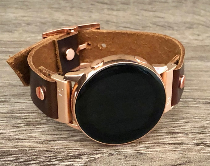 Leather Rose Gold Samsung Galaxy Active Band, Pink Gold Galaxy Watch Active2 Bracelet 40mm 44mm, Rose Gold Watch Band Cuff Wristband