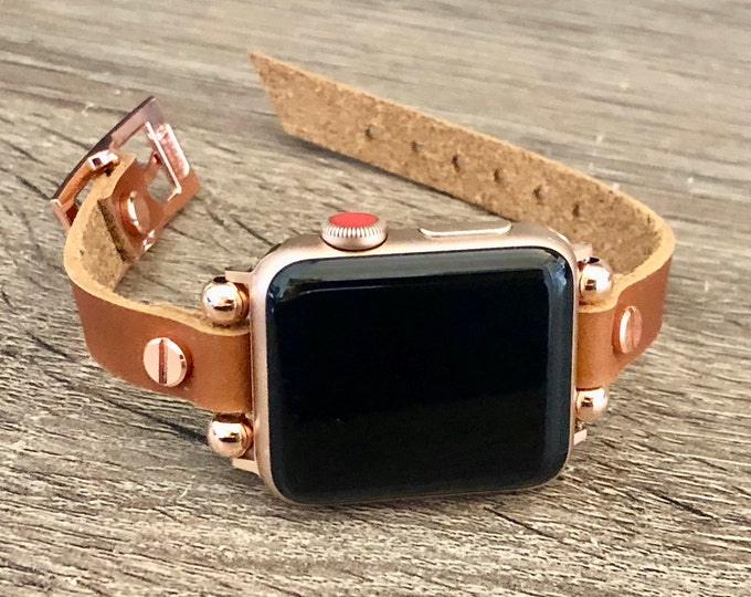 Rose Gold & Bronze Leather Apple Watch Band Women iWatch Bracelet Slim Apple Watch Strap iWatch Wristband 38mm 40mm 42mm 44mm Watch Band