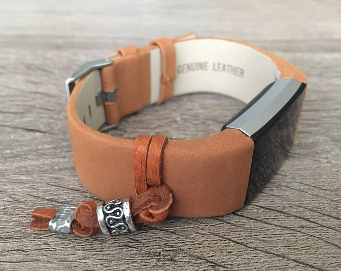 Handmade Bracelet For Fitbit Charge 2 Activity Tracker Brown Leather Band Silver Ornament Fitbit Charge 2 Band Fitness Tracker Bracelet Gift