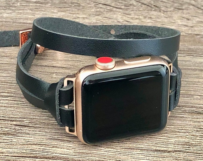 Rose Gold Apple Watch Black Leather Bracelet iWatch Band Double Wrapped Genuine Leather 38mm 40mm 42mm 44mm Women Style