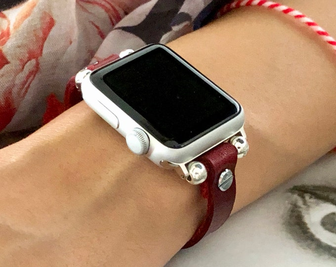 Silver Apple Watch Red Leather Strap Band 38mm 40mm 42mm 44mm iWatch Bracelet Slim iWatch Wristband Genuine Leather Watch Band