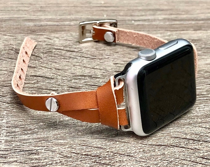 Light Brown Leather Apple Watch Band 38mm 40mm 42mm 44mm Women Jewelry Strap Bracelet Slim iWatch Wristband Silver Apple Watch Band