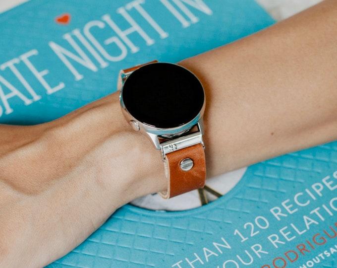Brown Leather & Silver Samsung Galaxy Watch 42mm Band, Galaxy Watch Active Band, Samsung Galaxy Watch Active2 40mm - 44mm Silver Watch Band