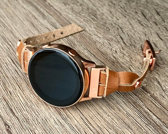 Light Brown Galaxy Watch Active 40mm Leather Bracelet Adjustable Rose Gold Galaxy Watch 42mm Band Samsung Galaxy Active2 40mm 44mm Wristband
