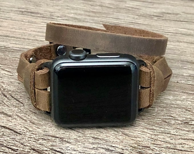 Slim Leather Apple Watch Bracelet 38mm 40mm 42mm 44mm Rustic Brown iWatch Strap Women Double Wrap Apple Watch Band Genuine Leather Wristband