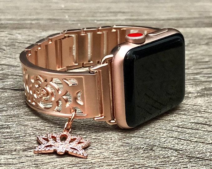 Rose Gold Apple Watch Band Women 38mm 40mm 42mm 44mm iWatch Band Rose Gold Adjustable Apple Watch Bracelet Lotus Medallion Bracelet Jewelry