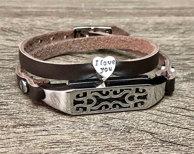 Brown Leather Fitbit Flex 2 Band Strap Women Fitbit Flex 2 Bracelet Silver Heart Jewelry Double Wrapped Fitbit Flex 2 Jewelry Leather Strap