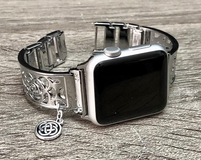 Silver Apple Watch Band Women 38mm 40mm Silver Apple Watch Bracelet Celtic Knots Charm Adjustable Metal Apple Watch Band 40mm 44mm Jewelry
