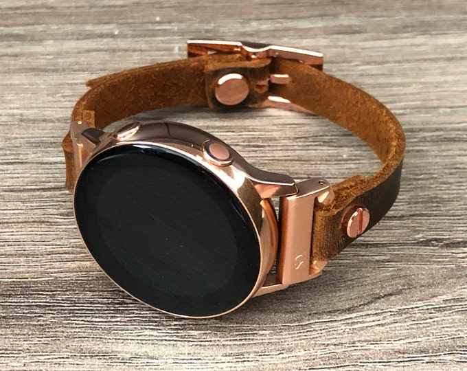 Samsung Galaxy Watch 42mm Band Brown Leather Galaxy Watch Active Band Samsung Galaxy Watch Active2 40mm - 44mm Rose Gold Watch Band