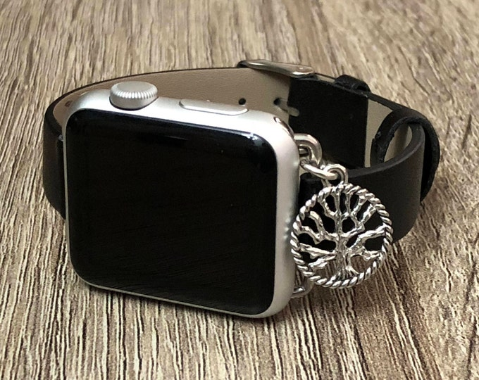 Slim Black Leather Bracelet for Apple Watch All Series Handmade Adjustable Apple Watch Band Silver Tree of Life Jewelry Watch Wristband Gift