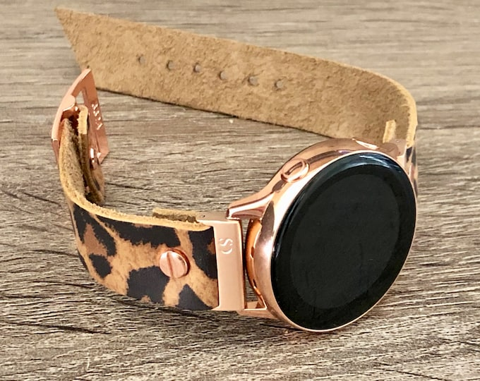 Leopard Print Samsung Galaxy Watch 42mm Band Galaxy Watch Active Band Samsung Galaxy Watch Active2 40mm - 44mm Rose Gold Watch Band