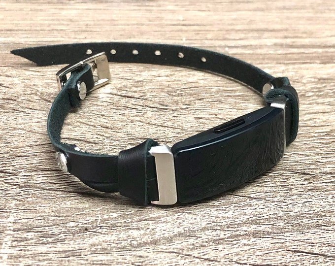 Women Fitbit Inspire Band Classic Silver & Black Bracelet Slim Genuine Leather Fitbit Strap, Fitbit Inspire HR Band, Fitbit Inspire Jewelry