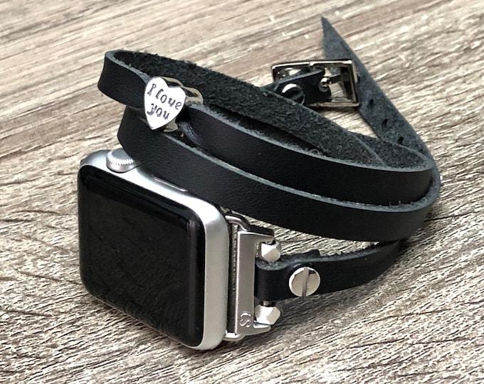 Black Multi Wrap Apple Watch Band Women Silver Heart Bead Leather Apple Watch Strap 38mm 40mm 42mm 44mm Apple Watch Jewelry iWatch Band Wrap