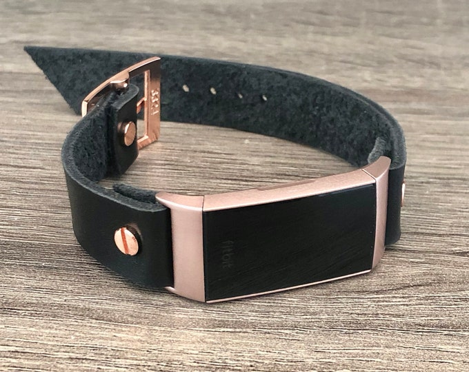 Rose Gold Fitbit Charge 3 Band Black Leather Bracelet Women Style Fitbit Wristband High Quality Genuine Leather Strap Adjustable Size Band