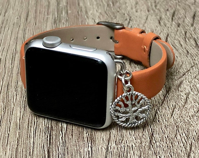 Elegant Slim Brown Vegan Leather Bracelet for Apple Watch  Handmade Silver Tree of Life Bracelet Adjustable Apple Watch Band Jewelry Gift