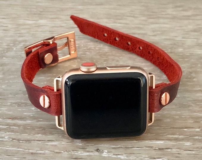 Wine Red & Rose Gold Apple Watch Band 38mm 40mm 42mm 44mm Leather Strap Bracelet iWatch Band Jewelry Apple Watch Wristband Series 1 2 3 4 5
