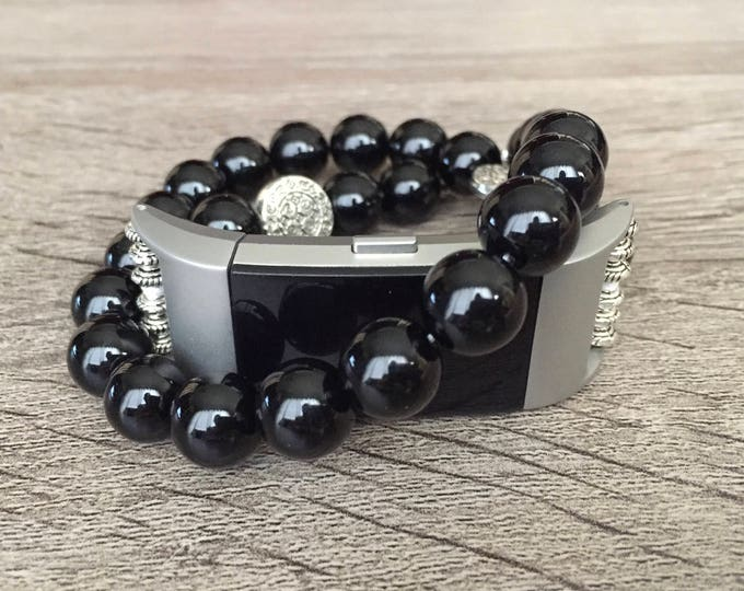 Handmade 10mm Onyx Stones Bracelet for Fitbit Charge 2 Fitness Activity Tracker Luxury Fitbit Charge 2 Band Silver Ornaments Elegant Jewelry