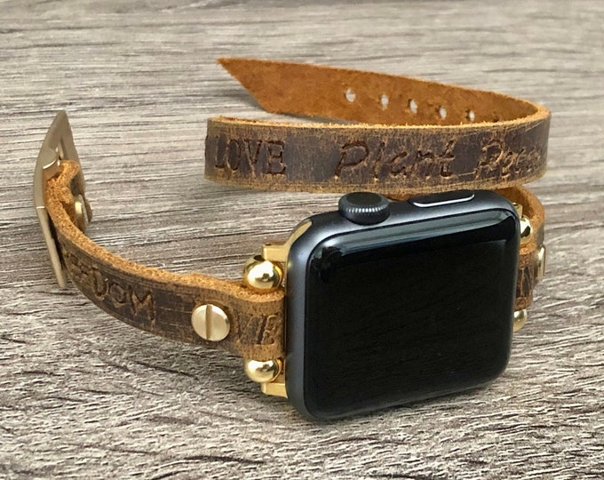Apple Watch Band 38mm 40mm 42mm 44mm Vintage Rustic Leather & Gold Apple Watch Strap Gold iWatch Wristband Double Wrap Inspirational Quotes