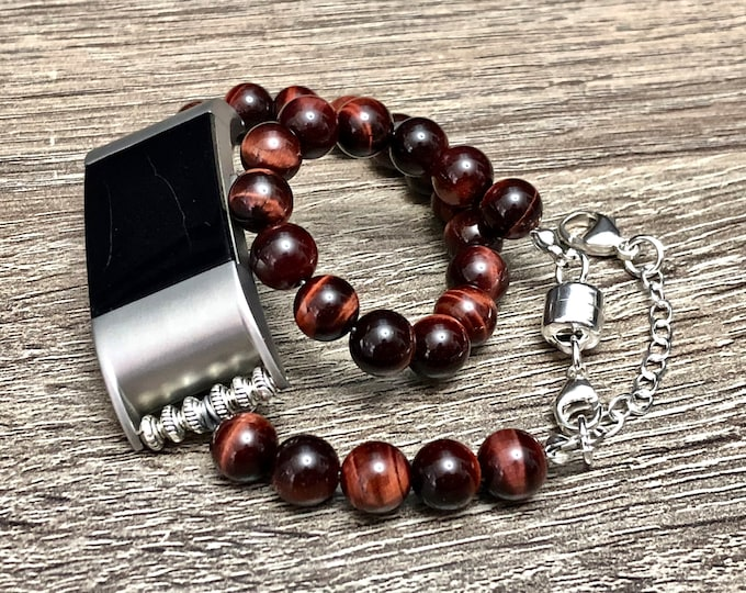 Red Tiger Eye Bracelet for Fitbit Charge 2 Activity Tracker Natural Stone Fitbit Charge 2 Band Silver Color Jewelry Stimulating Bracelet