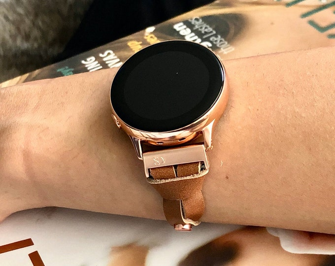 Rose Gold Galaxy Watch Active 40mm Leather Bracelet Adjustable Light Brown Galaxy Watch 42mm Band Galaxy Active2 40mm 44mm Watch Band Strap