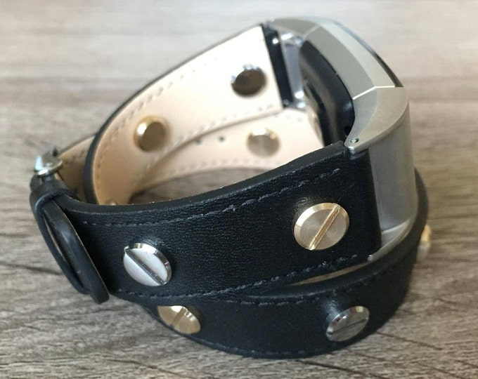 Classic Black Double Wrapped Eco Friendly Leather Bracelet For Fitbit Charge 2 Two Toned Rivets Handmade Replacement Fitbit Charge 2 Band