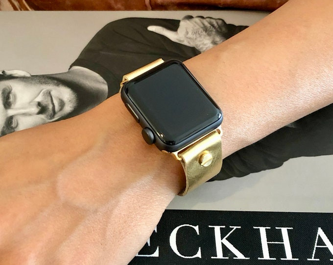 Gold Leather Apple Watch Band Women iWatch Bracelet 38mm 40mm 42mm 44mm Dressy Gold Apple Watch Wristband Adjustable iWatch Strap Band