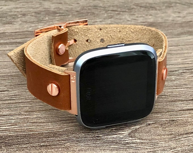 Rose Gold Fitbit Versa 2 Band Bronze Leather Fitbit Versa Lite Watch Adjustable Fitbit Versa Band Genuine Leather 18mm Watch Wristband Strap