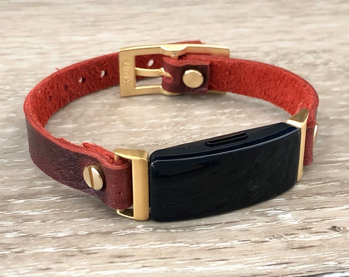 Red Fitbit Inspire HR Band Gold & Leather Fitbit Inspire Bracelet Strap Fitbit Inspire Wristband Adjustable Fitbit Leather Jewelry Band