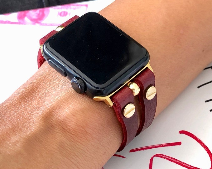 Genuine Leather & Gold Apple Watch Band 38mm 40mm 42mm 44mm Strap Women iWatch Band Red Color Apple Watch Bracelet Jewelry Series 1,2,3,4,5