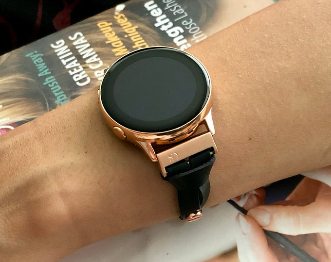 Rose Gold & Black Leather Galaxy Watch Active 40mm Bracelet Strap Adjustable Samsung Galaxy Watch Active Band Slim Jewelry Wristband
