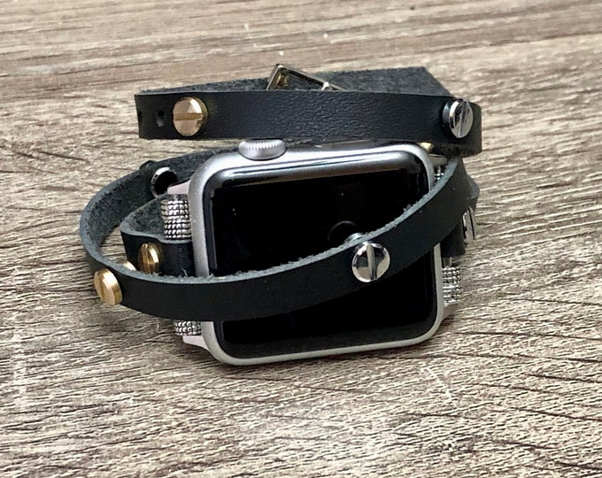 Two Toned Leather Bracelet for Apple Watch Handmade Black Multi Wrap Rivets Wristband Apple Watch Band Luxury Apple Watch Jewelry Bracelet