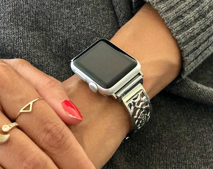 Women Apple Watch Band 38mm 40mm 42mm 44mm Adjustable Size iWatch Bracelet Sterling Silver Heart Medallion Apple Watch Bangle