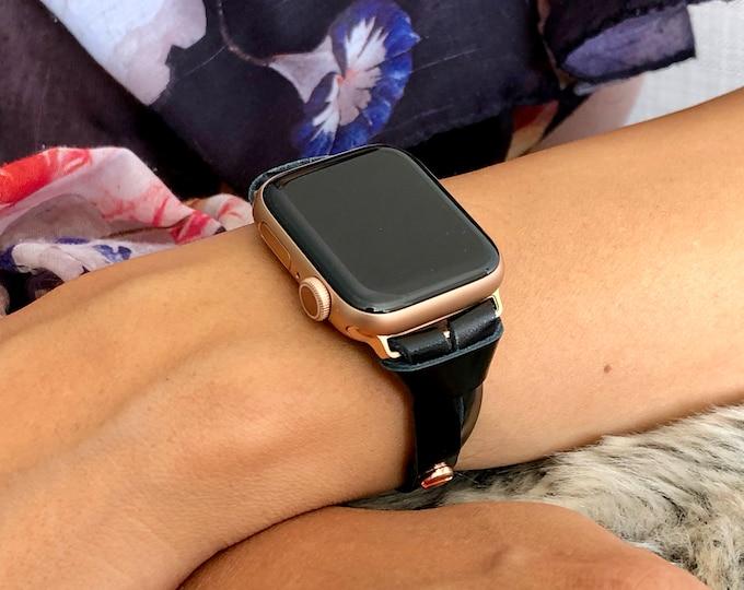 Slim Black Apple Watch Band 38mm 40mm 42mm 44mm Women Rose Gold Apple Watch Bracelet iWatch Bracelet Dainty Italian Leather Wristband