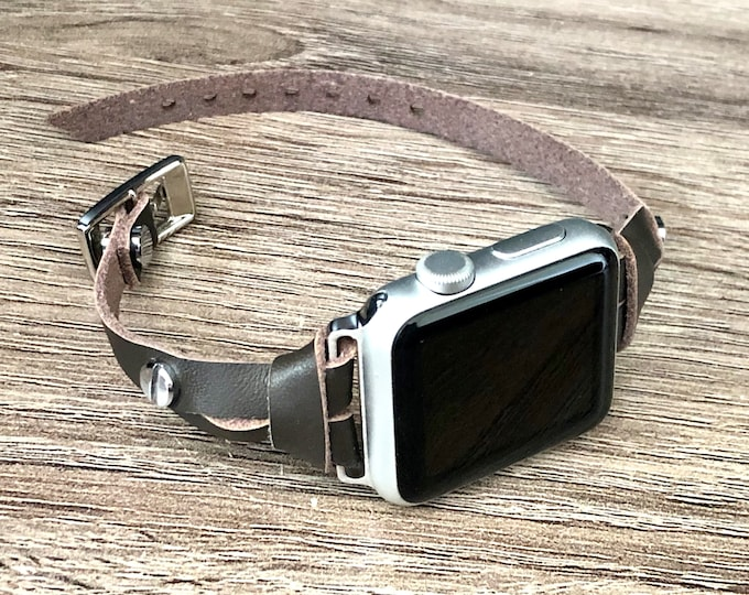 Brown Leather Apple Watch Band, 38mm 40mm 42mm 44mm Watch Bracelet, iWatch Band, Slim Genuine Leather & Stainless Steel Apple Watch Strap