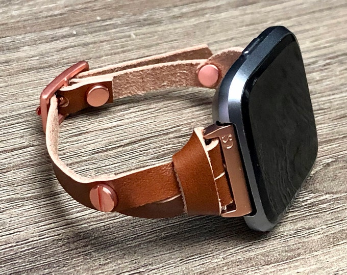 Fitbit Versa Watch Band,  Rose Gold Fitbit Versa Watch Bracelet,  Light Brown Slim Fitbit Versa Wristband, Women Fitbit Watch Strap Jewelry,
