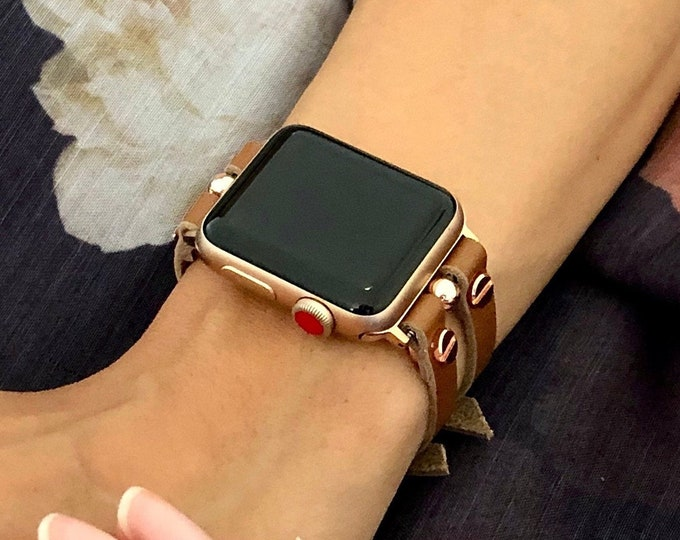Brown Leather Apple Watch Band 38 40 42 44mm Pink Rose Gold Apple Watch Strap Women iWatch Band Jewelry Bracelet Apple Watch Cuff Wristband