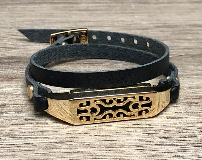 Elegant Women Fitbit Flex 2 Band Strap Black Leather & Gold Fitbit Flex 2 Bracelet Jewelry Luxury Adjustable Fitbit Flex 2 Wristband Strap