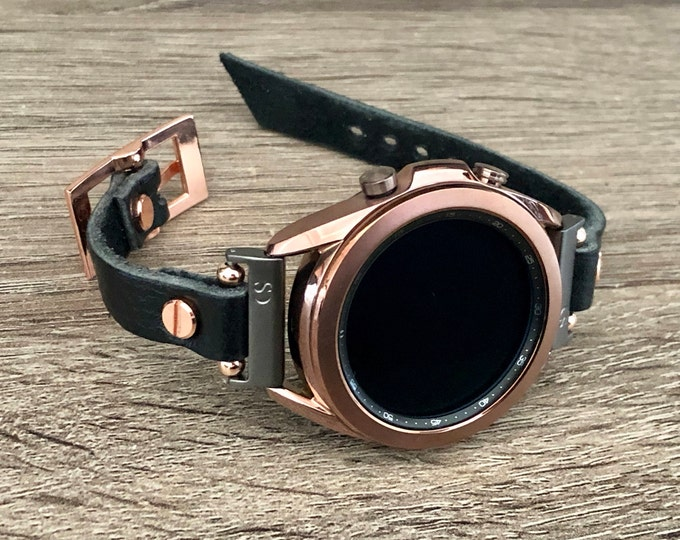 Black Samsung Galaxy Watch 3 Bracelet 41mm 45mm Watch Band Rose Gold Galaxy Watch 3 Band Adjustable Grain Leather Strap Slim Wristband