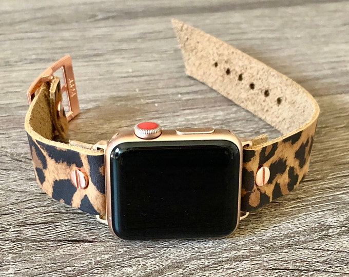 Women Apple Watch Band 38mm 40mm 42mm 44mm Genuine Leather Strap Leopard Print iWatch Band Apple Watch Bracelet Leopard Leather Wristband