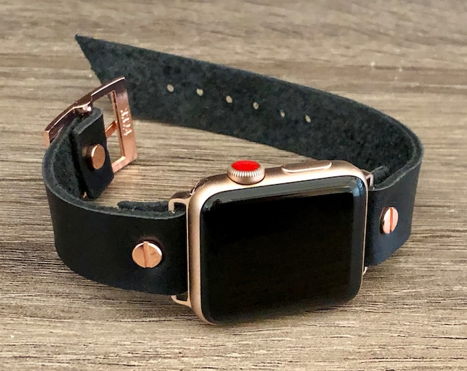 Rose Gold Apple Watch Band 38mm 40mm 42mm 44mm iWatch Bracelet Series 5 4 3 2 1 Adjustable Black Leather Cuff Wristband Rose Gold Watch Band