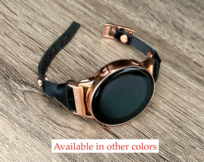 Black Leather Samsung Galaxy Watch Active Bracelet Rose Gold Jewelry Genuine Slim Strap Samsung Galaxy Watch 42mm Women Fashion Band
