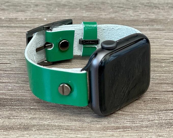 Dark Green Leather Apple Watch Band 38mm 40mm 42mm 44mm iWatch Bracelet Space Black Apple Watch Wristband Adjustable Genuine Leather Strap
