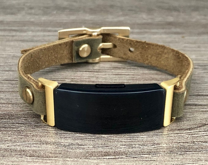 Fitbit Inspire Band Gold & Leather Fitbit Inspire HR Bracelet Boho Style Distressed Olive Leather Strap Fitbit Inspire Wristband Jewelry