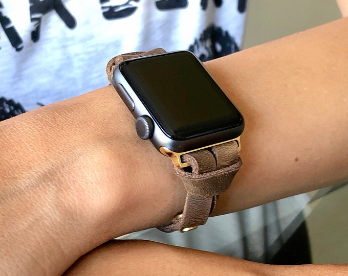 Rustic Brown Leather Apple Watch Band 38mm 40mm 42mm 44mm Women iWatch Bracelet Strap Vintage Leather & Gold Apple Watch Slim Wristband