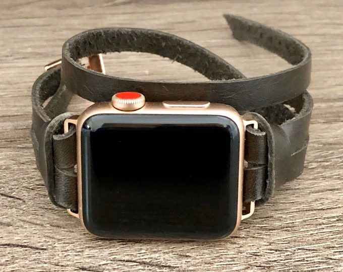 Women Apple Watch Band Double Wrapped Bronze Leather & Rose Gold Apple Watch Bracelet iWatch Band Apple Watch Wristband 38mm 40mm 42mm 44mm