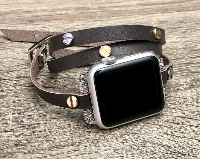 Brown Leather Apple Watch Strap 38m 40mm 42mm 44mm Band Two Toned Apple Watch Jewelry Band iWatch Bracelet Adjustable iWatch Wristband Wrap