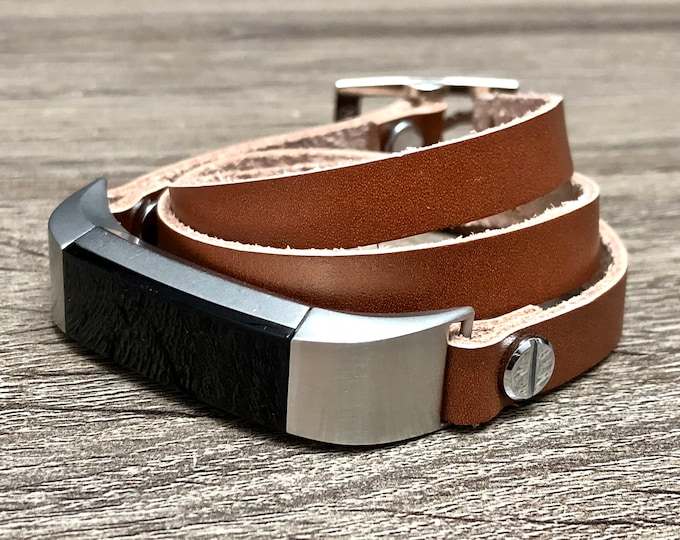 Light Brown Leather Fitbit Alta HR Band Multi Wrap Bracelet for Fitbit Alta HR Adjustable Fitbit Bracelet Soft Genuine Leather Fitbit Band