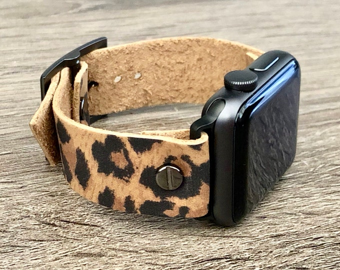 Apple Watch Band 38mm 40mm 42mm 44mm Leopard Print Leather iWatch Bracelet Strap Space Gray iWatch Wristband Birthday Jewelry Gift